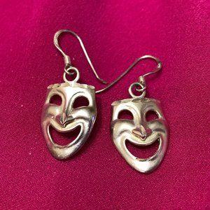 💝Vintage Sterling Silver Happy Face Mask Earrings